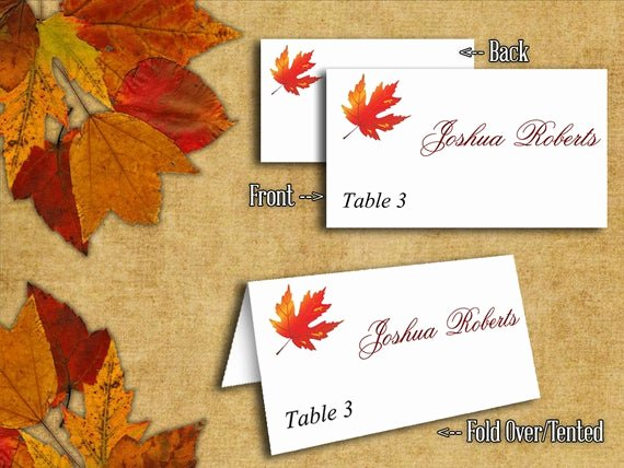 Fold Over Place Cards Template Elegant Diy Wedding Tent Place Cards Template Maple Leaves Rustic Red