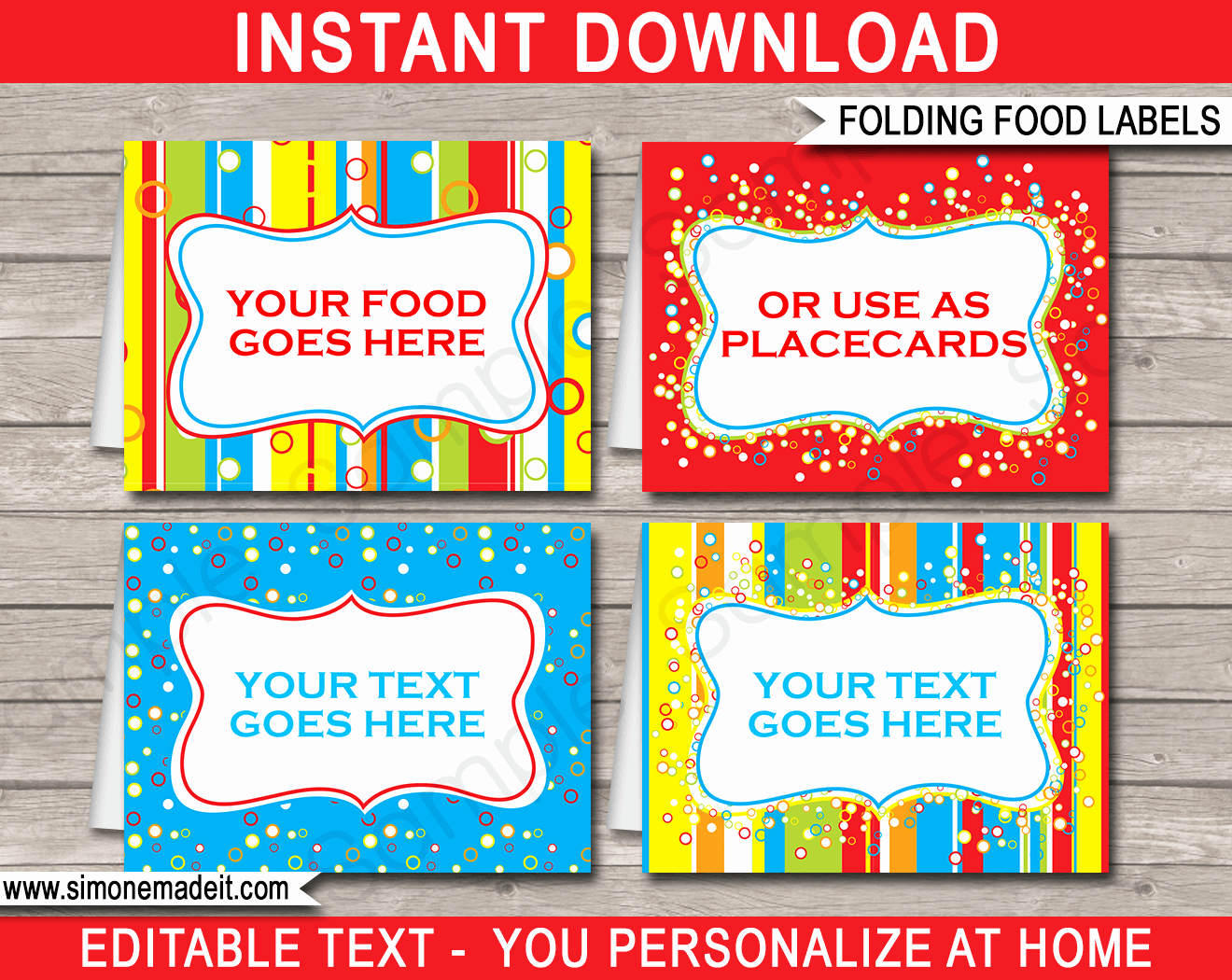 Fold Over Place Cards Template Inspirational Colorful Food Labels Place Cards
