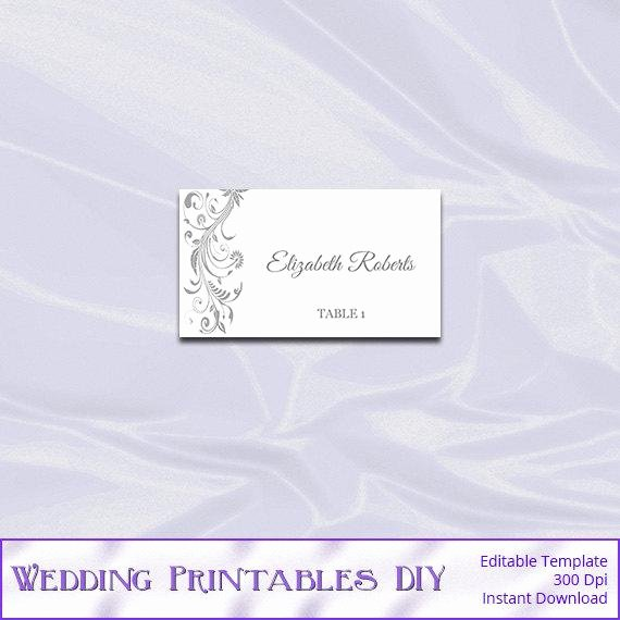 Fold Over Place Cards Template Inspirational Silver Place Card Template Diy Printable Gray Wedding Tent