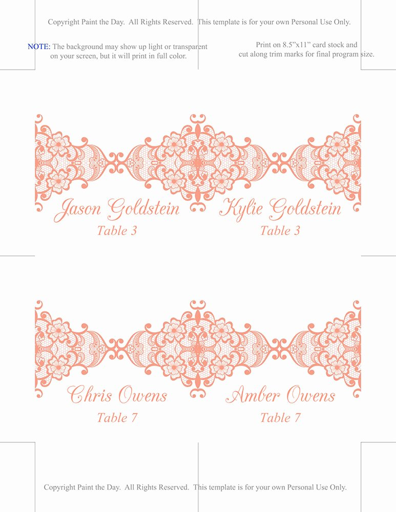 Fold Over Place Cards Template Lovely Lace Wedding Place Card Template Fold Over Escort Card