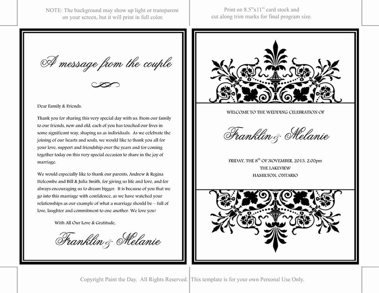 Fold Over Place Cards Template Luxury Fold Over Wedding Program Template by Paintthedaydesigns