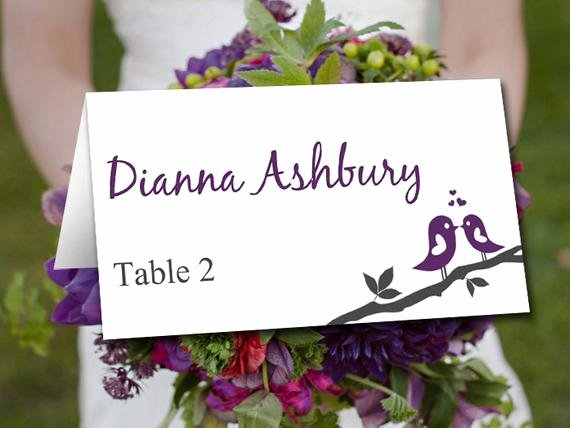 Fold Over Place Cards Template New Fold Over Wedding Place Card Template by Paintthedaydesigns