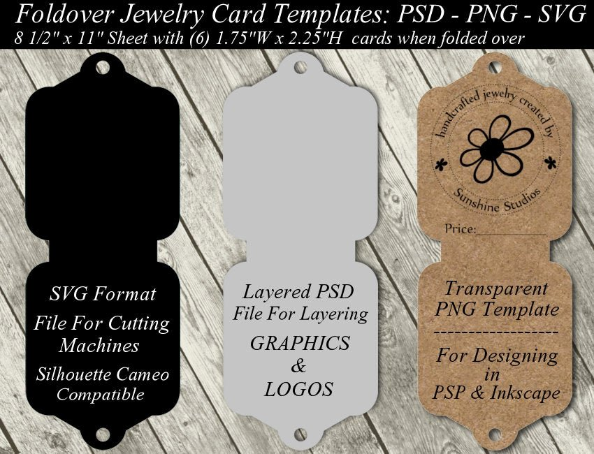 Fold Over Place Cards Template New Jewelry Card Template Available In Svg Cutting File Layered
