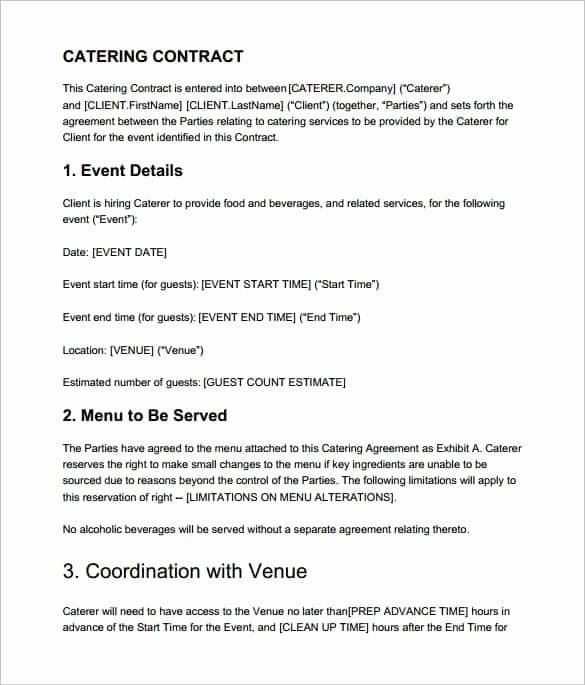 Food Service Contract Template Awesome Catering Contract Templates Find Word Templates