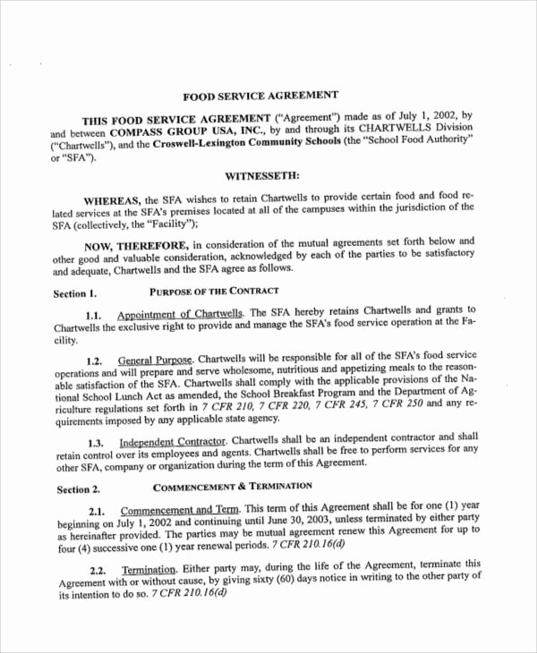 Food Service Contract Template Awesome Contract Food Service Sample 7 Examples In Word Pdf