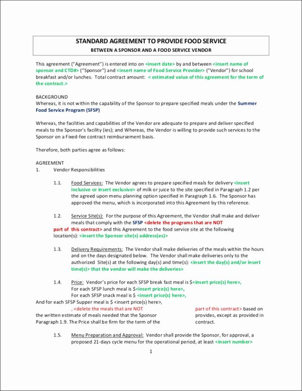 Food Service Contract Template Awesome Free 9 Vendor Contract Samples & Templates In Word