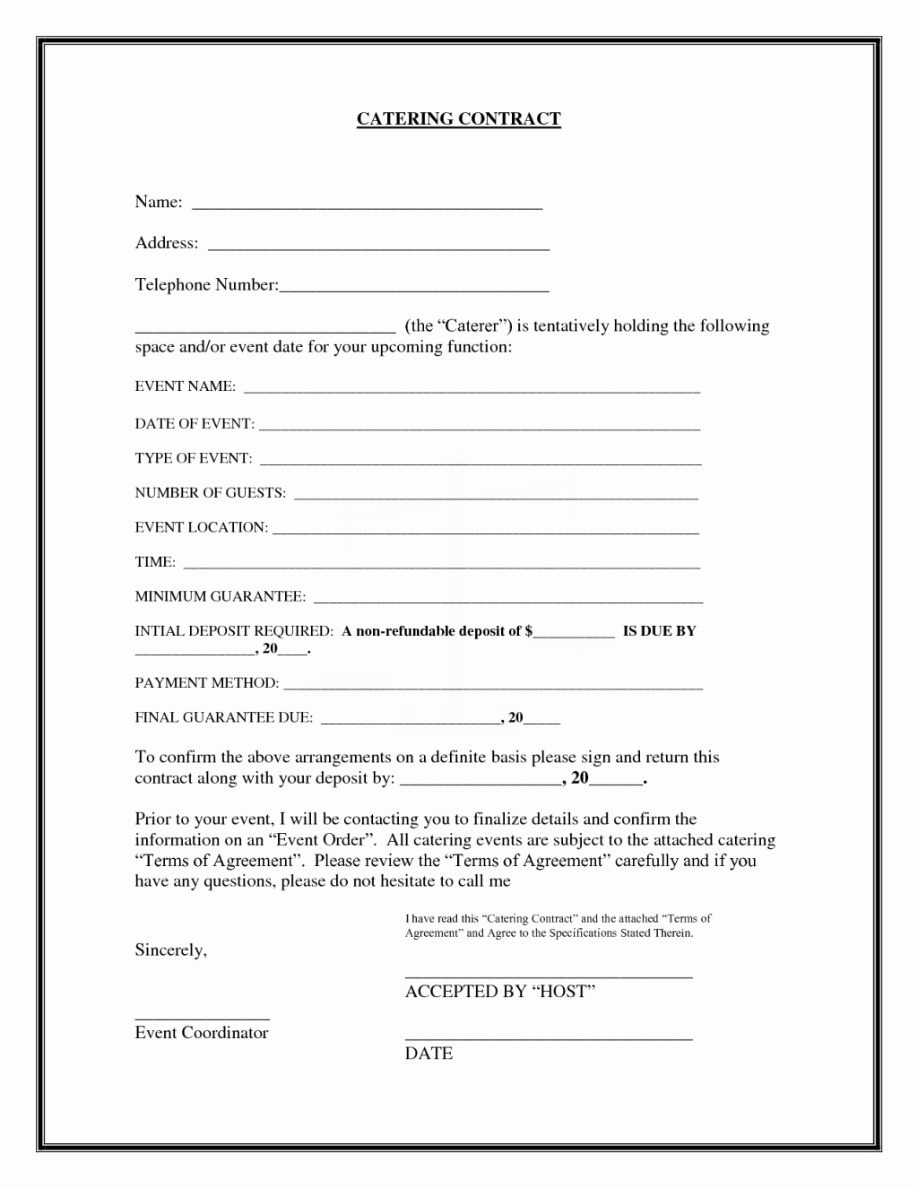 Food Service Contract Template Awesome Interesting Blank Catering Contract Template Example with