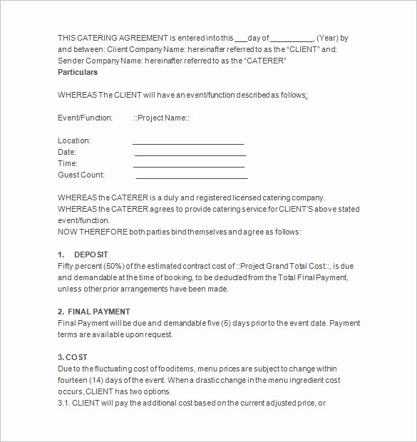 Food Service Contract Template Fresh 7 Catering Contract Templates Docs Pages