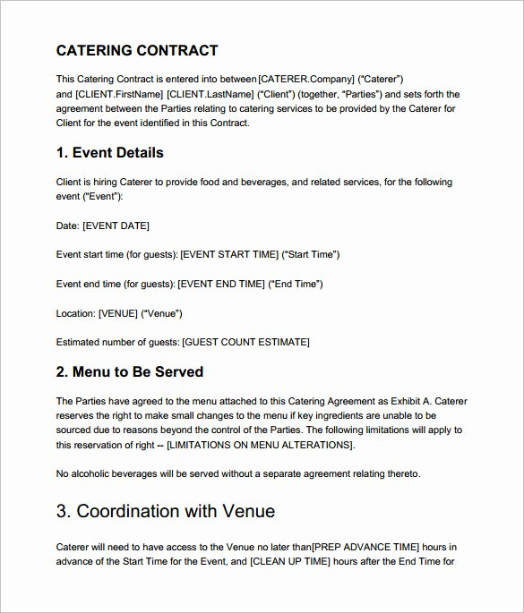 Food Service Contract Template Inspirational 7 Catering Contract Templates – Free Word Pdf Documents