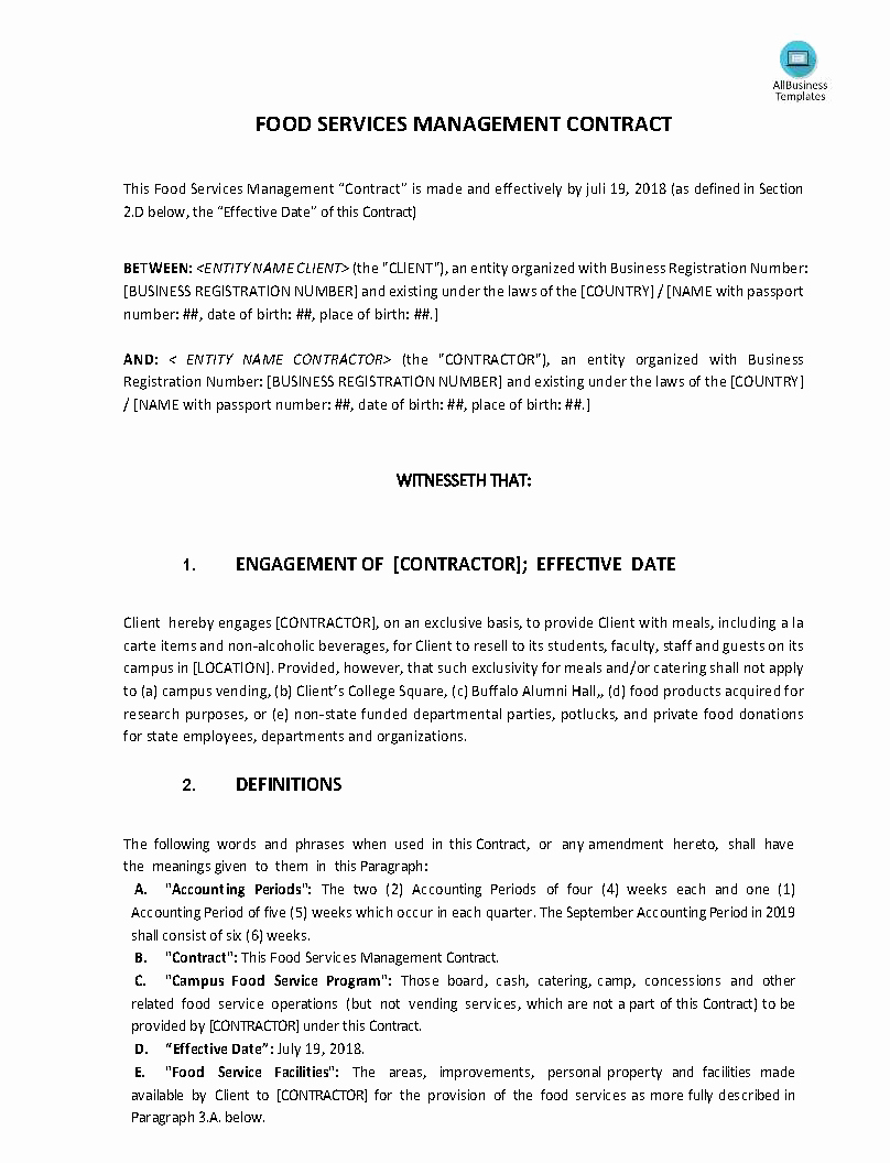 Food Service Contract Template Lovely Food Service Management Contract