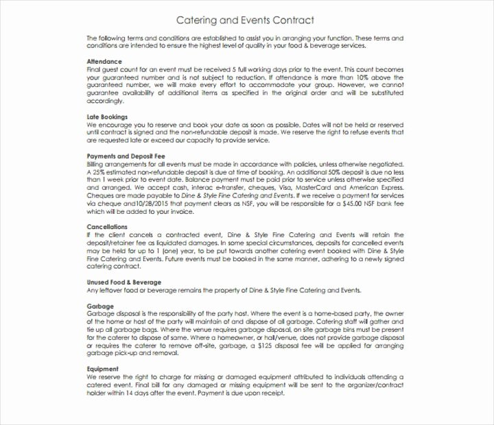 Food Service Contract Template Luxury 15 Food Service Contract Templates for A Restaurant Cafe