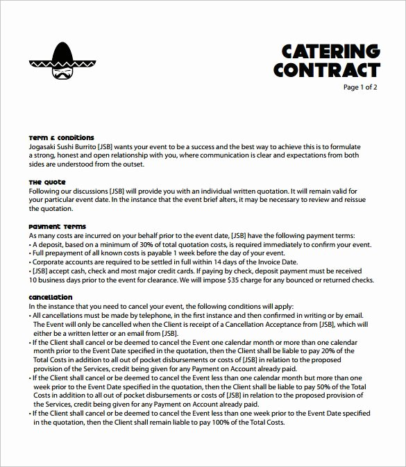 Food Service Contract Template New Catering Contract Template Free