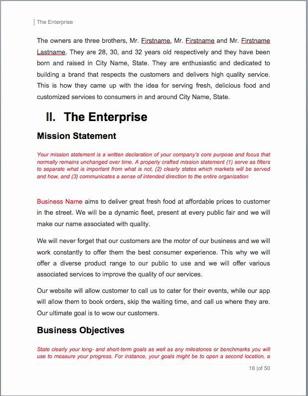 Food Truck Business Plan Template Best Of Food Truck Business Plan Example Cheeky Greek