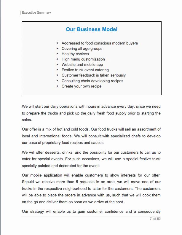 Food Truck Business Plan Template Inspirational Food Truck Business Plan Template Sample Pages Black Box