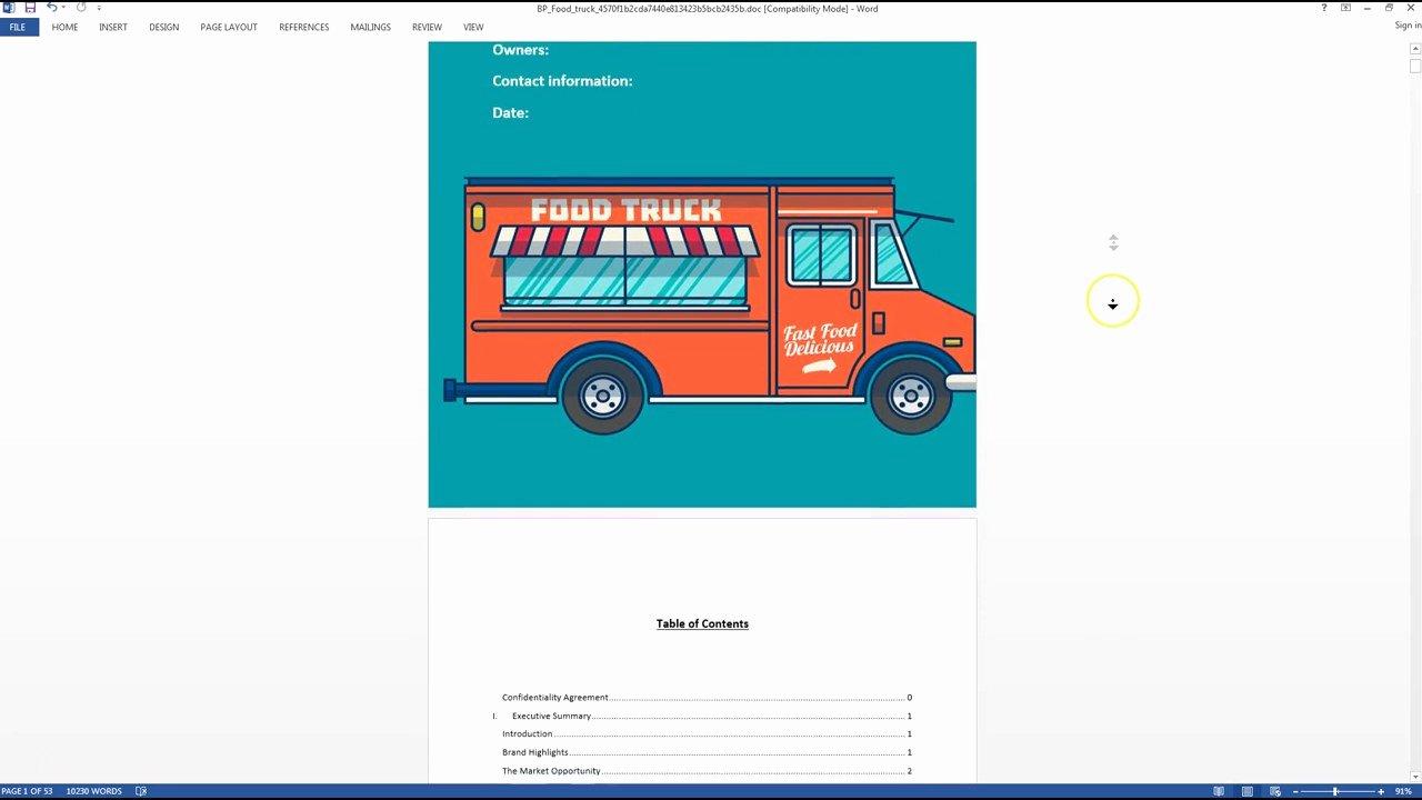 Food Truck Business Plan Template Inspirational Food Truck Business Plan Template Sample Video