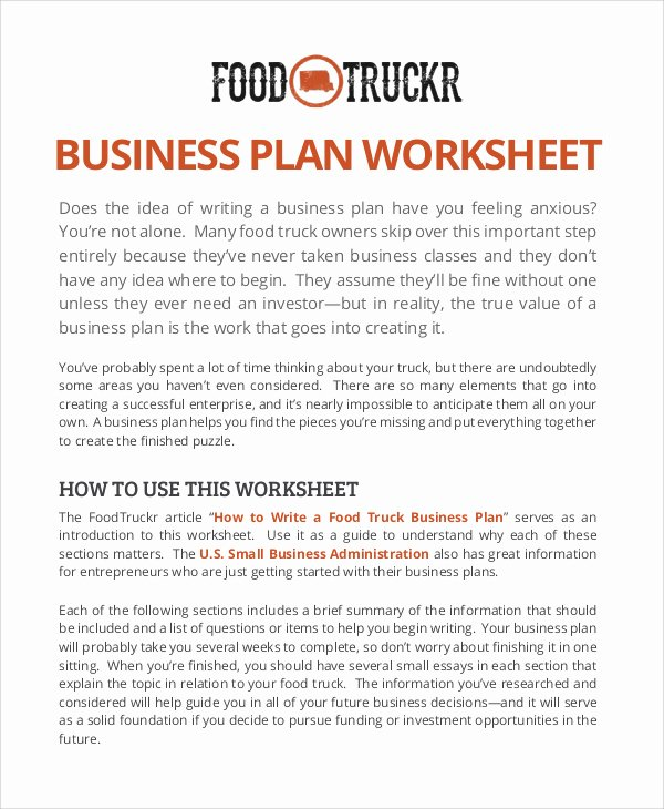 Food Truck Business Plan Template Lovely Food Truck Business Plan Sample