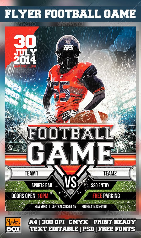 Football Flyer Templates Free Awesome Flag Football Flyer Template Elmesky