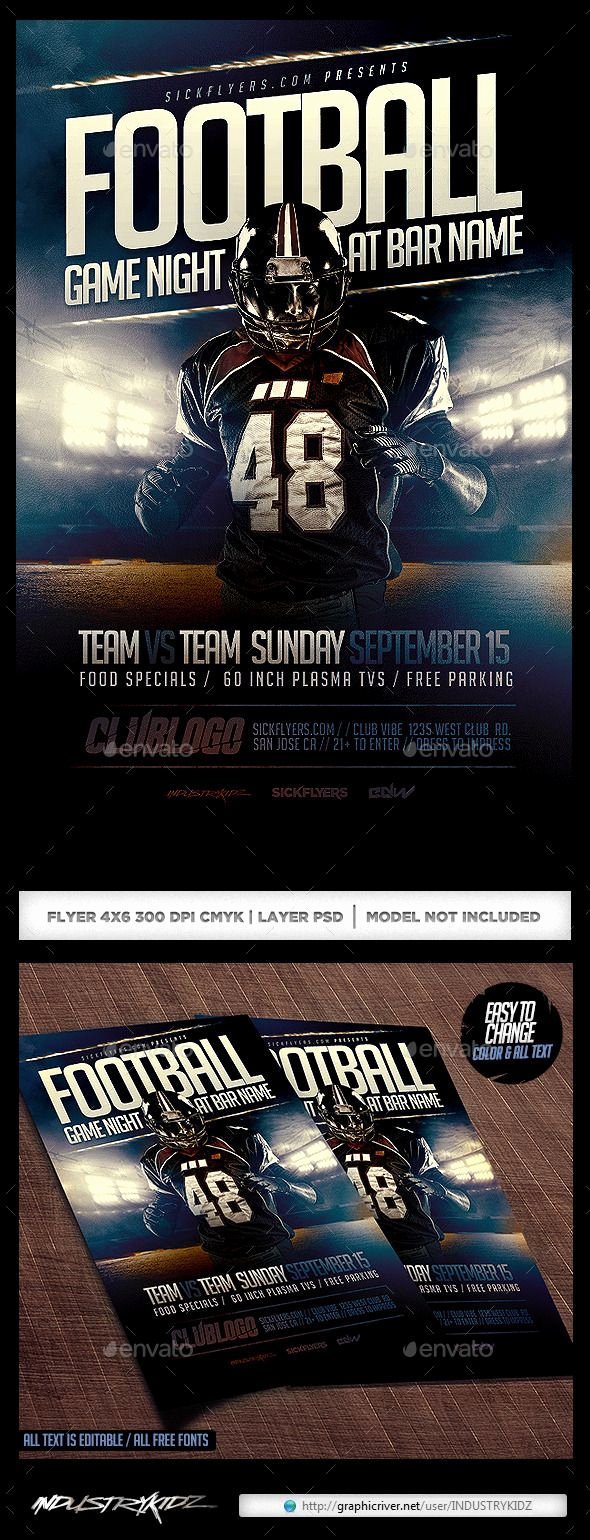 Football Flyer Templates Free Elegant Football Game Night Flyer Template Psd