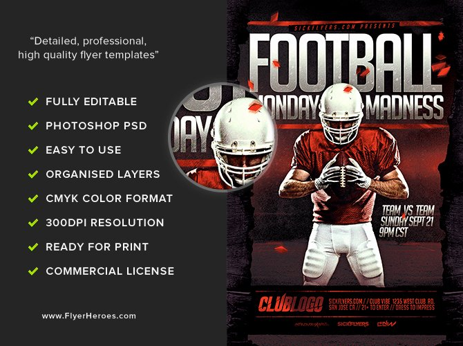 Football Flyer Templates Free Elegant Football Monday Madness Flyer Template Flyerheroes