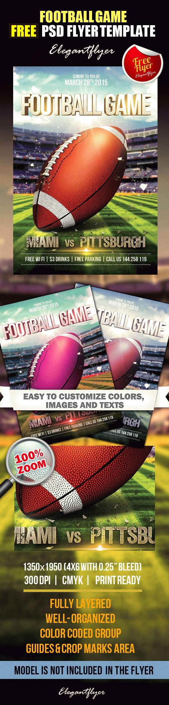 Football Flyer Templates Free Fresh Football Game – Free Flyer Psd Template – by Elegantflyer