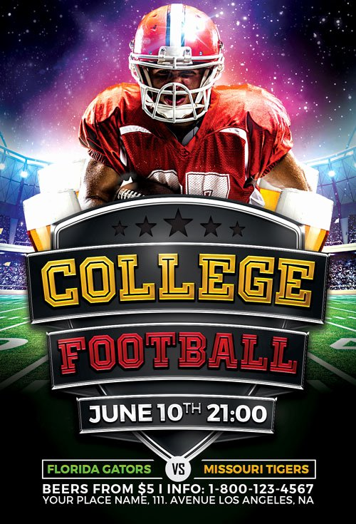 Football Flyer Templates Free Inspirational College Football Flyer Template Vol 2 for Shop