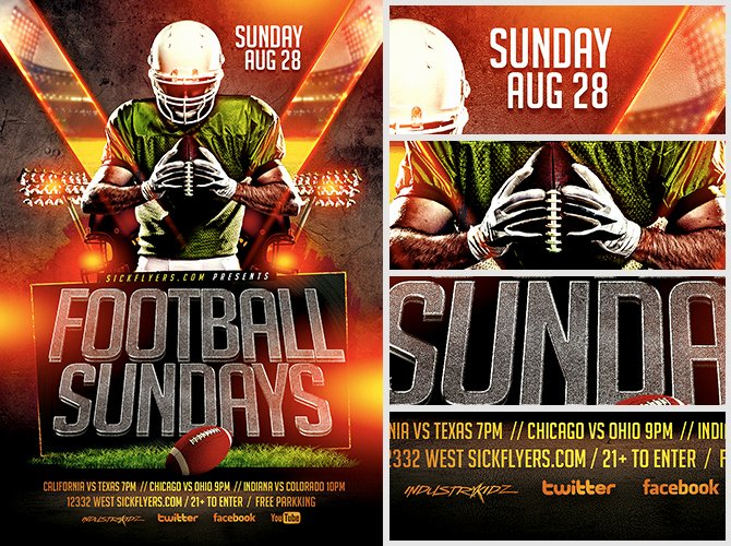 Football Flyer Templates Free Unique Football Sundays Flyer Template Flyerheroes