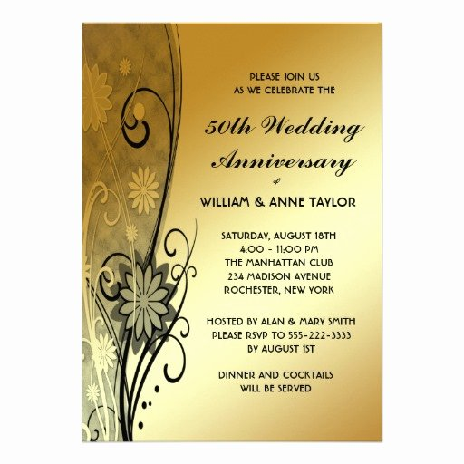"Free 50th Anniversary Invitation Templates Awesome Gold Flower Swirls 50th Anniversary Invitations 5"" X 7"