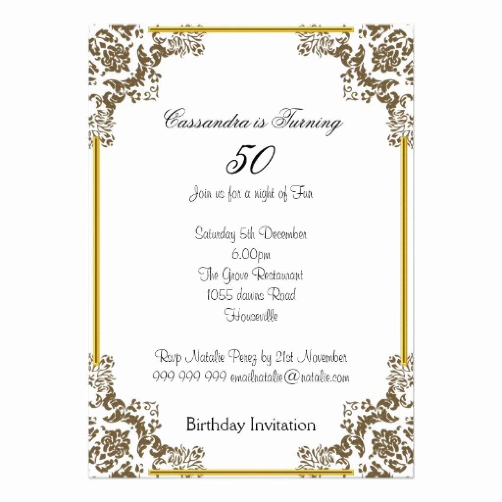 Free 50th Anniversary Invitation Templates Beautiful 50th Birthday Party Invite Wording — Birthday Invitation