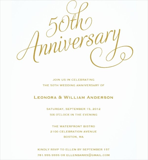 Free 50th Anniversary Invitation Templates Fresh 23 Wedding Anniversary Invitation Card Templates Word