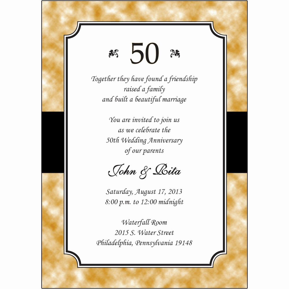 Free 50th Anniversary Invitation Templates Inspirational 25 Personalized 50th Golden Wedding Anniversary