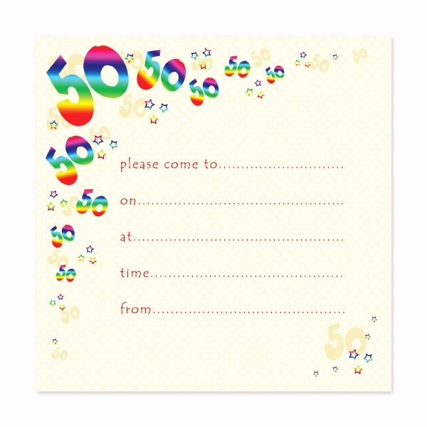 Free 50th Anniversary Invitation Templates Lovely Blank 50th Birthday Party Invitations