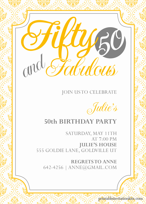 Free 50th Anniversary Invitation Templates New Fifty and Fabulous – 50th Birthday Invitation ← Wedding