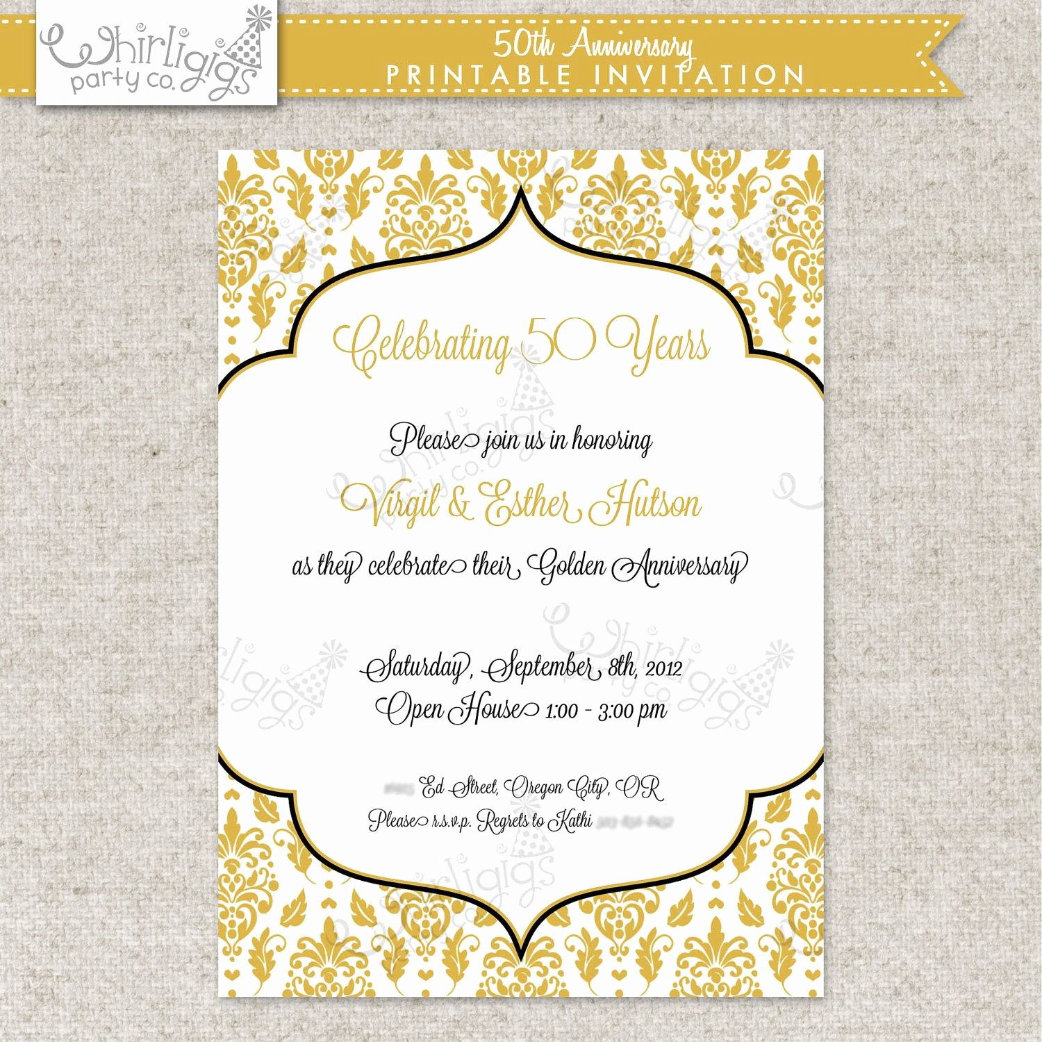 Free 50th Anniversary Invitation Templates Unique 50th Anniversary Invitation Golden Anniversary Invitation