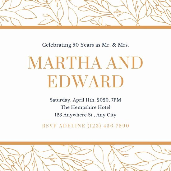 Free 50th Anniversary Invitation Templates Unique Cream and Brown Simple 50th Wedding Anniversary Invitation