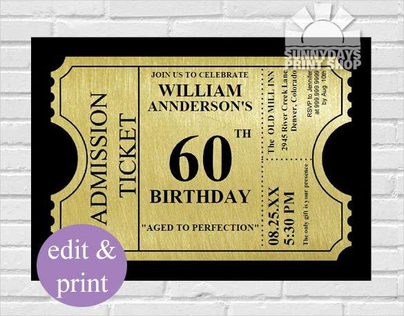 Free 60th Birthday Invitations Templates Beautiful 26 60th Birthday Invitation Templates – Psd Ai
