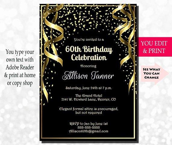 60th birthday invitation 60th birthday