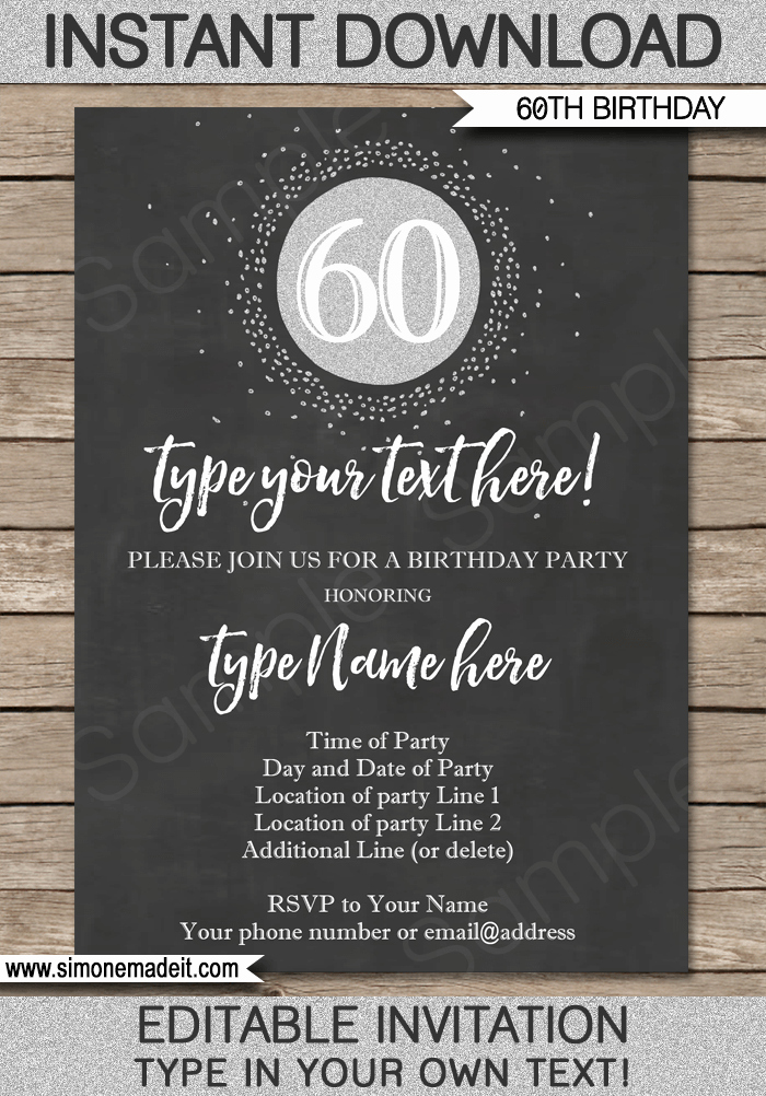 Free 60th Birthday Invitations Templates Beautiful Chalkboard 60th Birthday Invitation Template