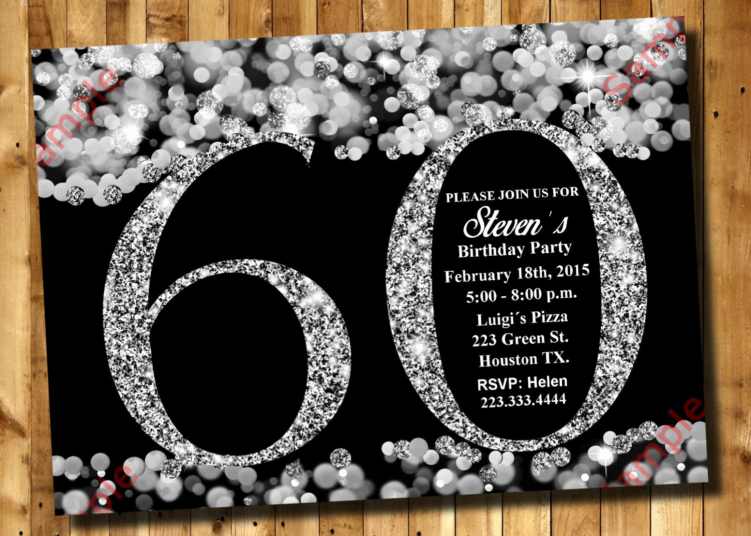Free 60th Birthday Invitations Templates Best Of 60th Birthday Invitation Silver Glitter Invitation Adult