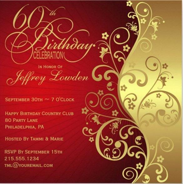 Free 60th Birthday Invitations Templates Elegant 60th Birthday Invitation Template – 19 Free Psd Vector