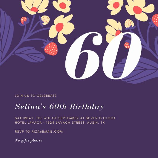 Free 60th Birthday Invitations Templates Elegant Customize 362 60th Birthday Invitation Templates Online