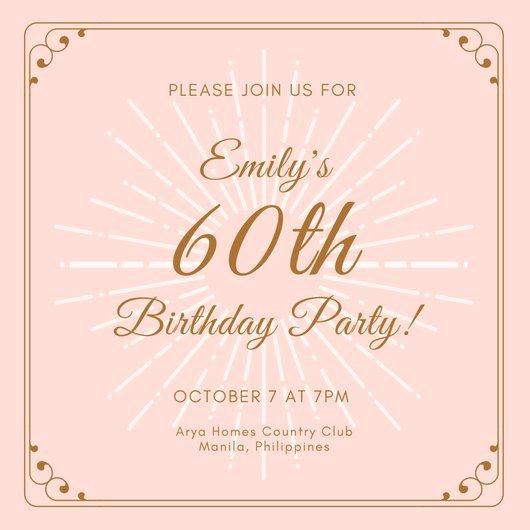 Free 60th Birthday Invitations Templates Elegant Customize 986 60th Birthday Invitation Templates Online