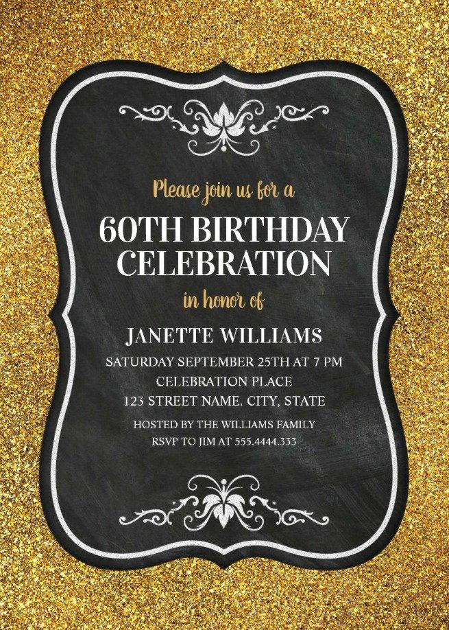 Free 60th Birthday Invitations Templates Fresh Glitter Adult 60th Birthday Party Invitations