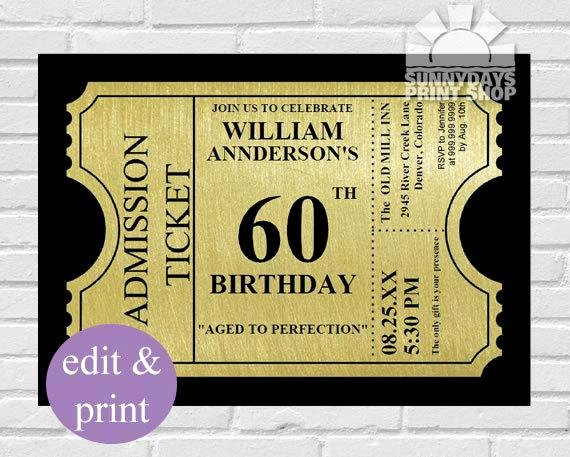 Free 60th Birthday Invitations Templates Fresh Gold Ticket 60th Birthday Invitation60th by Spicedappleparties