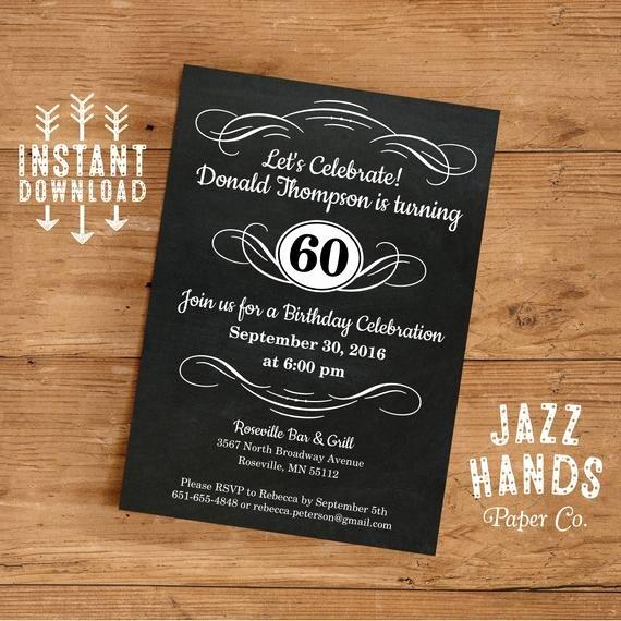 Free 60th Birthday Invitations Templates Inspirational Vintage Adult Birthday Invitation Template