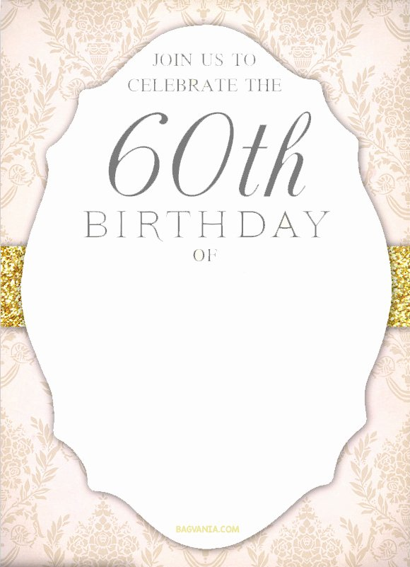Free 60th Birthday Invitations Templates Lovely Free Printable 60th Birthday Invitation Templates