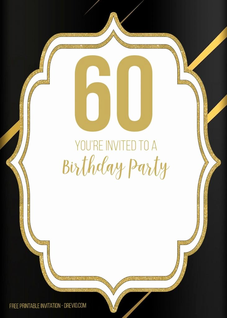 Free 60th Birthday Invitations Templates Luxury Free Printable Black and Gold 60th Birthday Invitation