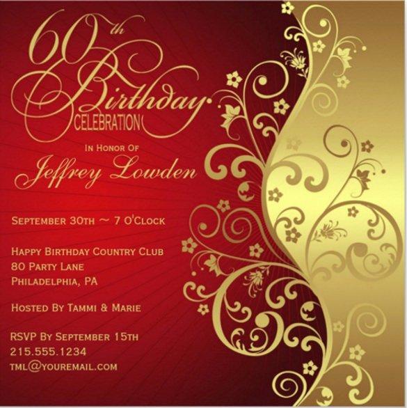 Free 60th Birthday Invitations Templates Unique 28 60th Birthday Invitation Templates Psd Vector Eps