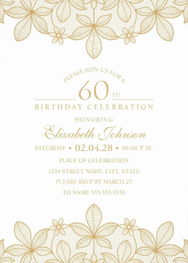 Free 60th Birthday Invitations Templates Unique Golden Lace 60th Birthday Invitations Elegant Luxury
