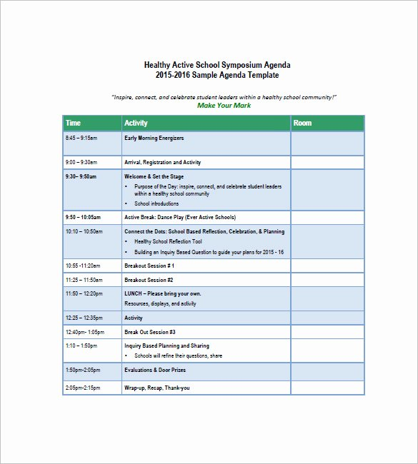 Free Agenda Templates for Word Awesome School Agenda Template – 8 Free Word Excel Pdf format