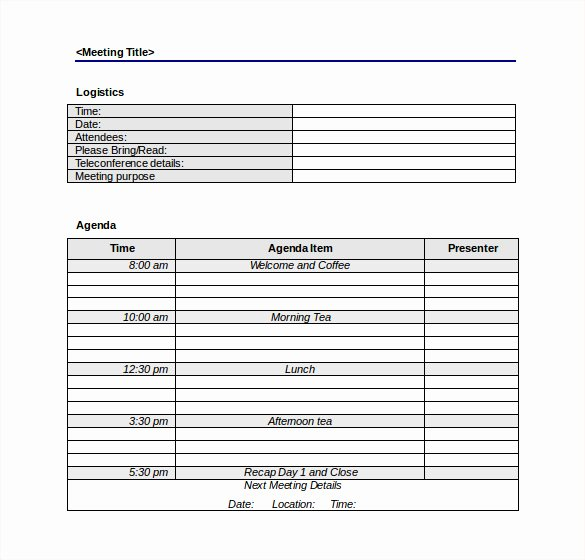 Free Agenda Templates for Word Elegant 50 Meeting Agenda Templates Pdf Doc